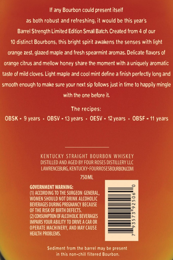 2014 four roses small batch limited edition back