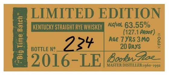 Booker's rye tag